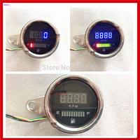 New Universal 2 function 12v LED Motorcycle Tachometer + Fuel Oil Gauge Meter Fuel Level Scale Indicator