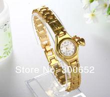 Women Lady s luxury royal gold Dial honey heart pendant stainless steel Bracelet Watch Time Quartz