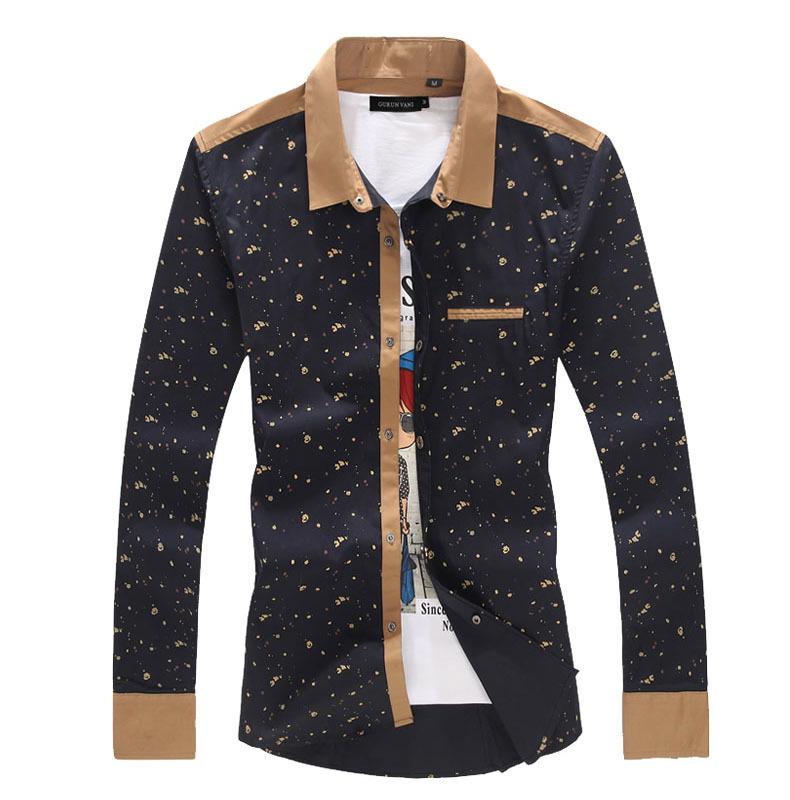 Homens camisas de vestido 2015 nova alta qualidade Casual Mens Top de algodão manga comprida camisa dos homens Slim Fit camisas sociais Plus Size M-5XL(China (Mainland))