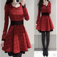 2015 spring autumn fashion korea big yards keep warm temperament bud silk lace grid long-sleeved thin waist woman dress LP0016