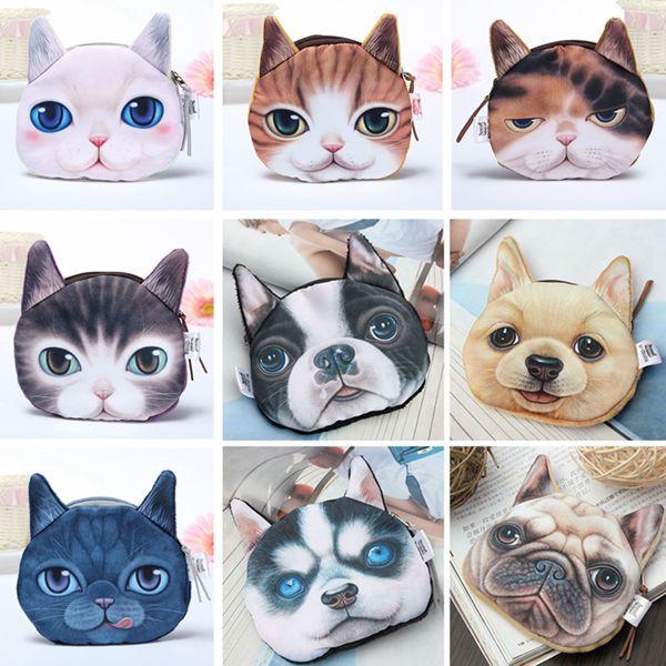 2015 New Cute Dogs Cartoon 3D Huskie Print Animal Face Zipper Case Coin Purse Wallet Makeup Buggy Bag Pouch Women Kids(China (Mainland))