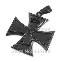 Free Shipping! Black 1914 World War I Crown German Army Iron Cross Pendant Stainless Steel Jewelry Cross Biker Pendant SWP0307