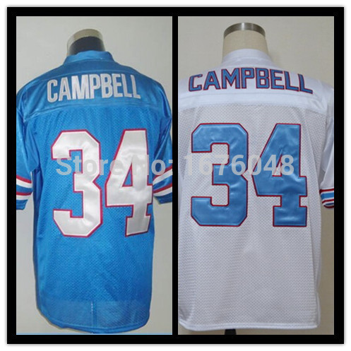 #34 Earl Campbell Jersey,Throwback/retro houston Football Jersey,Sport Jersey Stitched 34,Size M--XXXL,Accept Mix Order(China (Mainland))