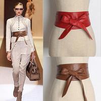Soft leather bowknot  women wide waist belt  tied rope women wide cummerbunds