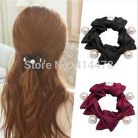 2015 New Koren High Quality Bows+Pearl Women Hair Ties Elatic Hair Bands Ladies Hair Holder Free Shipping