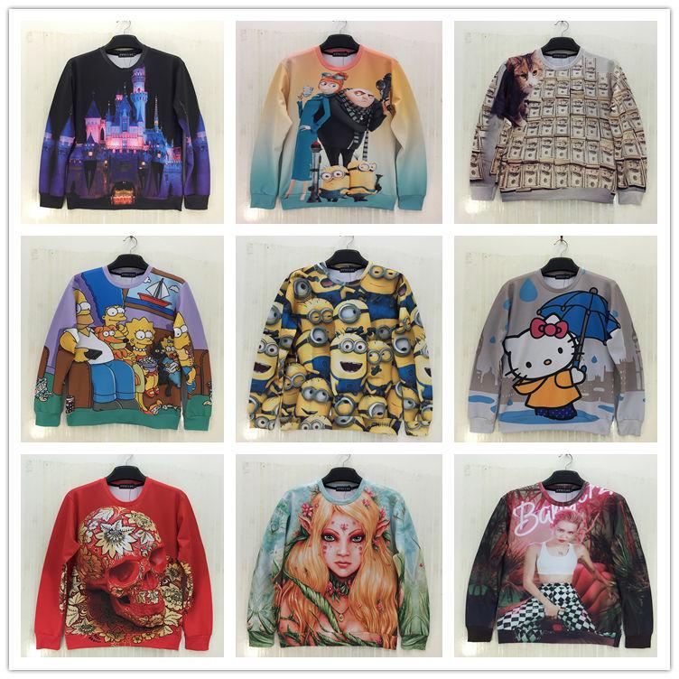 Nama Brand Fashion 2015 Mens Autumn&Winter Hoodies Long Sleeves Casual 3d Print Mens Hoodies and Sweatshirts 3d Pullovers(China (Mainland))