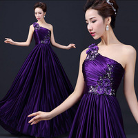 2015 New Brand Elegant Prom Dresses High Quality Slim  Sexy One-shoulder Long Dress Plus Size With 3 Colors Free Shipping