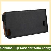 Black Genuine Leather Flip Cover Phone Case for Wiko Lenny with Magnetic Snap 10pcs/lot Free Shipping