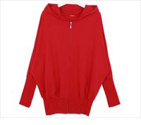 2015 Spring Autumn Zipper Hooded Batwing Sleeve Casual Cardigan Women Hoodies Sweatershirts moleton feminino sudaderas mujer
