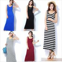2015 New Spring Summer European and American Modal Striped  Sleeveless Slim Casual Women Tank Long Dresses maxi dress