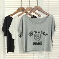 2015 Spring Summer New O-Neck Batwing Sleeve Printing Women T Shirt Crop Top