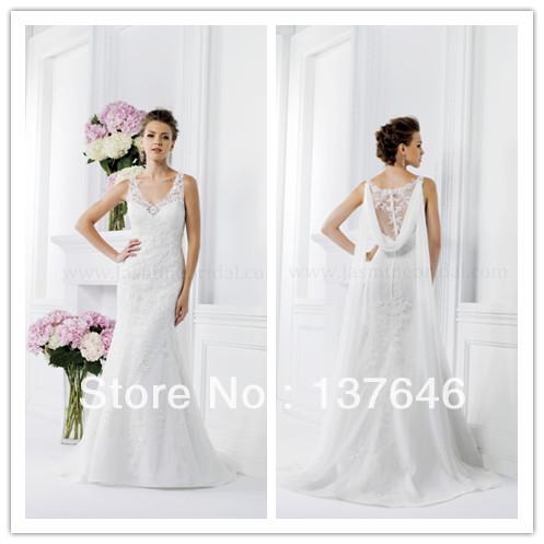 Mermaid Wedding Dress 2014 Jasmine V Neck with Straps vestido de noiva Custom made Lace Appliques Bridal Gown with Sash(China (Mainland))