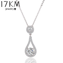 17KM Brand Charm Water Drop Big Stone Gem Shinning CZ  Zircon Chain Necklace Heart Crystal Fine Jewlery For Women 2015 New