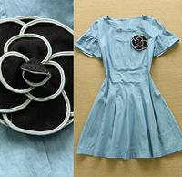 2015 Runway High Quality Designer Preppy Denim Dress Women's Cute Black Rose Flower Decorated Flare Sleeve Pleated Dress