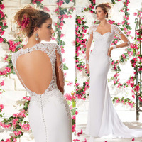 Vestido de Novia White Long Sleeve Sheer Lace Mermaid Backless Wedding Dress Buttons Bridal Gowns 2015 New Design W3965
