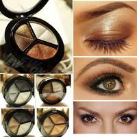 2015 New 3 Colors Eye shadow Makeup Palette Good Quality Powder Smoky eyes Metal Naked Nude EyeShadow Cosmetic brush & mirror