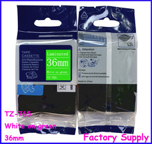 Factory Supply 36mm*8m White on Green Compatible Brother Printer Label Tapes Tz 765 Tze-765 (Freeshipping)