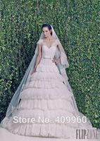 2015 Zuhair Murad Sexy V Neck Short Sleeves A Line Floor Length Tulle Wedding Dresses Vestido De Noiva Sereia