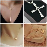 New Pretty Gold Plated Heart Y Cross Shape Womens Bib Statement Chain Jewelry Pendant Necklace Choker