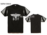 Fashion Boys leather sleeve short Tee shirts brand boy london basic t-shirt hip hop men t shirt street summer clothing plus size