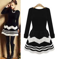 New 2014 Long Sleeve Sweater Dress for Women, Lady O-Neck Tops Blouse Stripe Causal Dress sweater Slim Pleated Fashion Dress