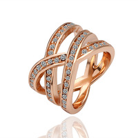 Fashion jewelry women Finger Rings real 18K Rose/White Gold Plated geometry pattern environment-friendly materials