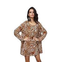 Vestidos Plus Size Casual Spring Dress 2015 O-Neck Loose Mini Dress New Women Dress Women Sexy Leopord Dress Lomg Sleeve WD072