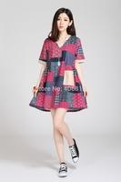2014 Ethnic promotional printing loose big yards short sleeve V-neck dress fashion cotton linen material 9004 l sent free