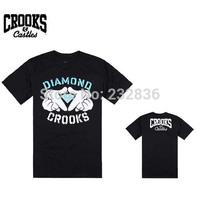 2015 Fashion Crooks and Castles T-shirt men's hip hop t shirts tee shirts men cotton classic diamond shape print t shirt S-XXXL