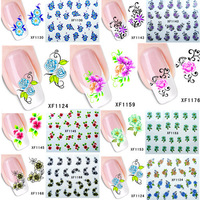 60 sheets #XF1121-XF1180 Fashion Nail Art Tips Flower Water Transfer Nail Sticker Decals Salon Decoration for Nail Accessories