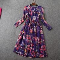 2015 NEW IN Spring Designer Dress Women's Retro Long Sleeve Animal Owl Squirrel Flower Printed Knee Length Dress