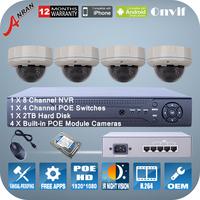 2.0 Megapixel 1080P HD IP POE Camera IR Night Vision P2P 8CH NVR 4CH POE Switch Home Video Surveillance CCTV Camera System