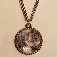 Wholesale 6$ VAMPIRE'S KISS Pendant  Necklace Gothic Fantasy Art Glass Victoria Frances Fashion Jewelry Chain Gift Vintage lot