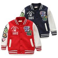 2015 Korean 100% fleece letters pattern baseball printed children clothing long sleeved jacket for boys