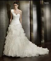 Vestido De Noiva 2015 Fashionable Plus Size Salomon Sexy One Shoulder Romantic Mermaid Organza Wedding Dress Sereia Casamento