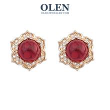 brand crystal earrings wedding Genuine Austrian Crystal Rose Gold Blue crystal Ear Clips OlenJewellry(China (Mainland))