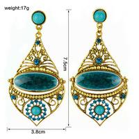 Fashion vintage Drop earrings bohemian National Wind drop-shaped Resin green big earring for women indian jewelry ER-020250