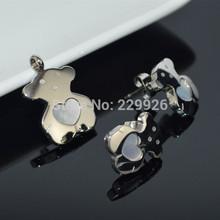 S25H Love Heart Honey Shell Micro Bear Stainless Steel Pendant Earring Fahionable Romantic TOP grade Plated