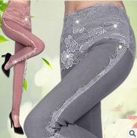 2015 New Brang Spring Autumn leggings Women Plus velvet lace stitching sweet show thin women's pants fat female trousers