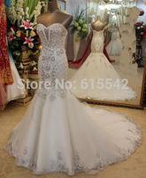 Gorgeous Mermaid Trumpet Wedding Dresses Sweetheart Sleeveless Beading Crystal Motifs Adorn Chapel Train Bridal Dresses Custom