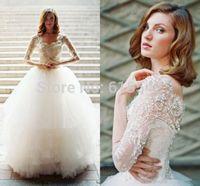 New Beautiful Ball-Gown Wedding Dresses Sweetheart Length Sleeve Lace Applique Beads Floor Length Bridal Dresses Custom