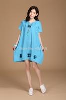2014 Promotional new large size women dress plaid cotton linen dress 9005 Free Papua paste sent