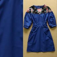 European High Quality Designer Boutique Dress Women's Cute Puff Sleeve Floral Printed Patchwork Cotton Dress