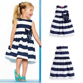 Cheap Factory Price Baby Kid Girls Sleeveless One Piece Dress Blue Striped Bowknot Tutu Dresses Summer