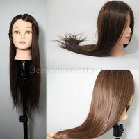 Long Brown 50% Real Human Hair Woman Manikin Mannequin Training Head Hairdressing Salon Doll + Holder