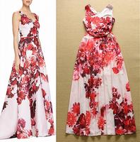 2015 Europe Runway Designer Evening Dress Women's Charming Sleeveless V-neck Red Flower Print Maxi Long Prom Dress