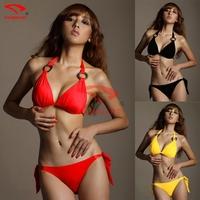 Push up 3 colors swimsuit Vintage Designer swimwear Ringed Neck Halter Sexy Girls Bikini