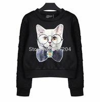 2015 spring Women  casual  cartoon hoodie sweatwear cat
