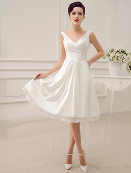 Роскошный слоновой кости старинные спинки v-образным вырезом люкс свадебные платья чай длина свадебный прием платья