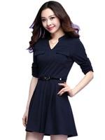 Special offer.  Free Shipping Spring Fat MM Korean Formal Long Sleeve  Dresses , Work Wear Temperament Thin Dress 1XL-4XL 3682
